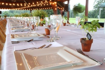 Grisham Pavilion table setting at the Huntsville Botanical Garden