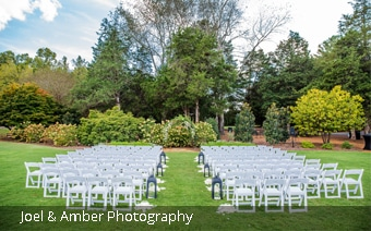 Wedding ceremony at The Meadow at Lake Lonnie in Huntsville Botanical Garden